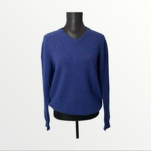 Club Room 100% Lambswool Sweater Blue Small V-neck